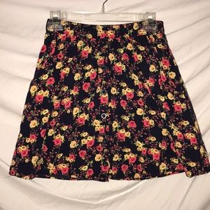 Forever 21 Navy Floral Skirt with Pockets